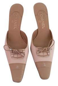 Chanel cream leather Mules