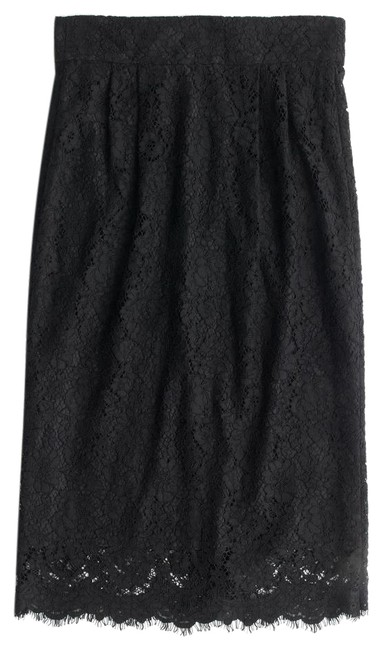 J.Crew Pencil Lace Pintucked Skirt Black
