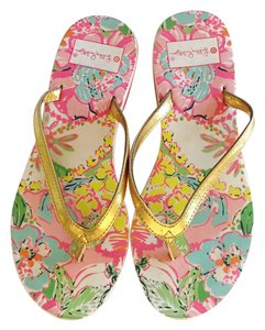 Lilly Pulitzer pink green and gold Sandals