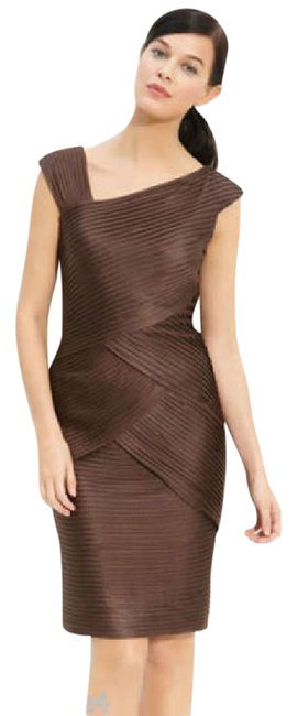 Preload https://img-static.tradesy.com/item/20622251/tadashi-shoji-brown-new-pintuck-jersey-sheath-short-workoffice-dress-size-2-xs-0-1-650-650.jpg