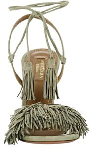Aquazzura Wild Thing Wild Fringe Suede Green Sandals
