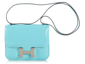 Hermès Blue Hr.k1206.02 Tadelakt Leather Lizard Shoulder Bag