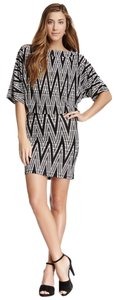 American Twist short dress Black & White Bodycon Boatneck Dolman Sleeve Chevron on Tradesy