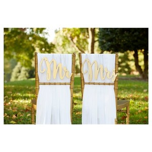 Kate Aspen Gold Mr. & Mrs. Chair Signs By Reception Decoration