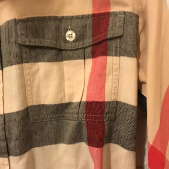 Burberry Button Down Shirt Black, Red and Tan