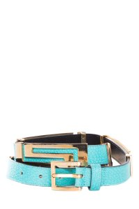 Versace Textured Aqua and Gold Leather Belt
