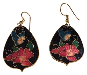 Other Vintage Cloisonne Enamel Flower Butterfly Dangle Earrings