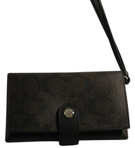 Coach Coach Signature PVC Phone Clutch Wallet Wristlet 53975, Brown Black