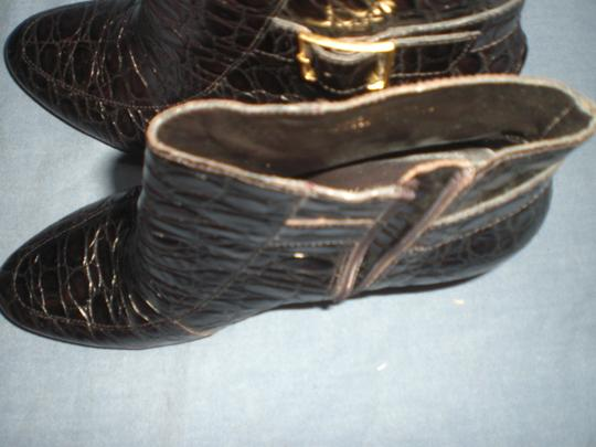 Talbots Leather Embossed Side Zipper Dark Brown Boots