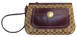 Coach Signature Brown Wristlet in Brown/Purple