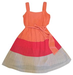 Dana Buchman short dress orange Pleated on Tradesy
