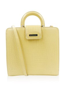 Mila Schon Croc Embossed Satchel in Yellow