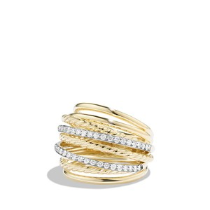 David Yurman X Crossover Dome Ring with Diamonds in 18K Gold