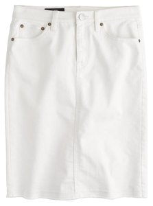 J.Crew Pencil Frayed Denim Skirt White