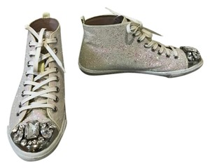 Miu Miu Glitter Sneakers Party Sparkly Crystals White Athletic