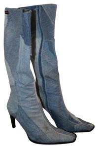 FUBU Patchwork Tall Denim Boots