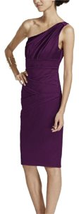 David's Bridal Plum 85106 Short One-shouldered Satin Dress Dress
