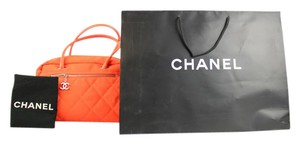 Chanel Canvas Nylon Weekend Flouroscent Florescent Satchel in Orange