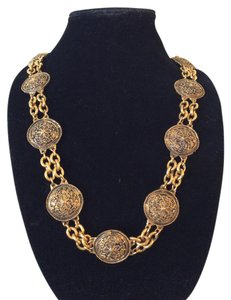 Chanel SALE ! RARE VINTAGE 1985 CHANEL ETRUSCAN STYLE MEDALLION BELT/NECKLACE