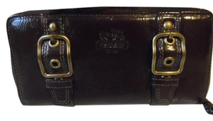 Coach Coach Zoe Brown Patent Leather Zip Around Wallet/Clutch