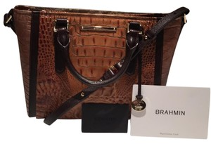 Brahmin Satchel in Toasted Almond Bengal