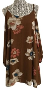 Leith Floral Shift Strappy Juliette Sleeves Cold Dress
