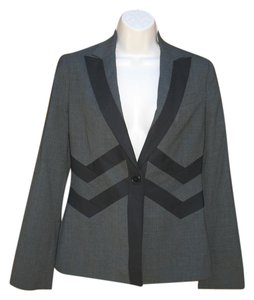 BCBGMAXAZRIA Wool Chevron Jacket Suit Gray Black Blazer