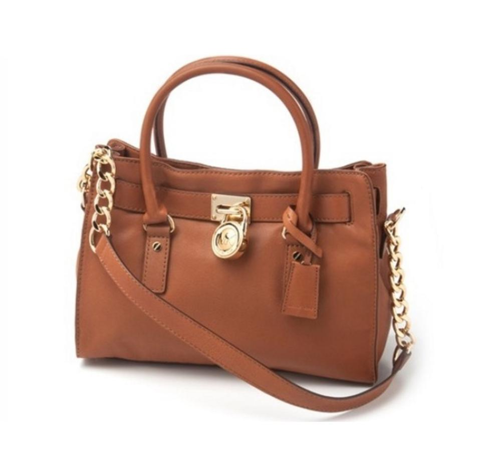 fb307a002c58 Michael Kors Small Hamilton Tan / Cognac Genuine Leather Satchel ...