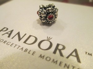 PANDORA Pandora Silver BIRTHDAY BLOOMS January Garnet Charm 790580GR RETIRED