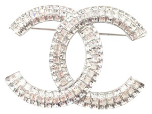 Chanel NEW Classic Chanel Lady Loop Crystal Brooch Pin In Silver