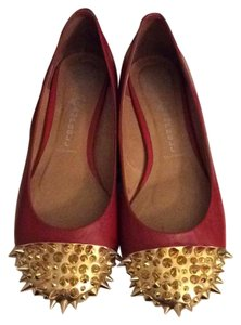 Jeffrey Campbell red and gold Flats