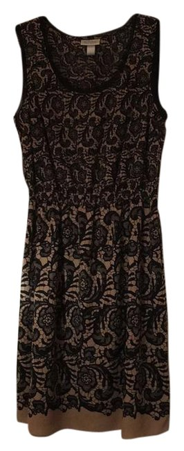 Item - Black and Beige Floral Mid-length Work/Office Dress Size 4 (S)