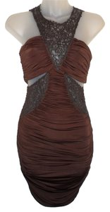 bebe Cutouts Ruched Stretchy Faux Leather Dress