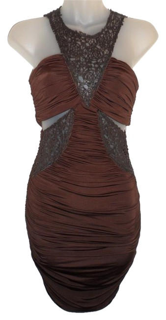 bebe Cutouts Ruched Stretchy Faux Leather Dress Image 0
