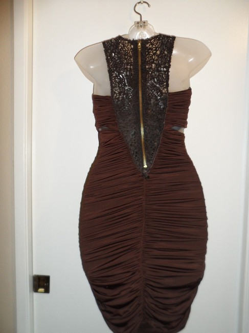 bebe Cutouts Ruched Stretchy Faux Leather Dress Image 2