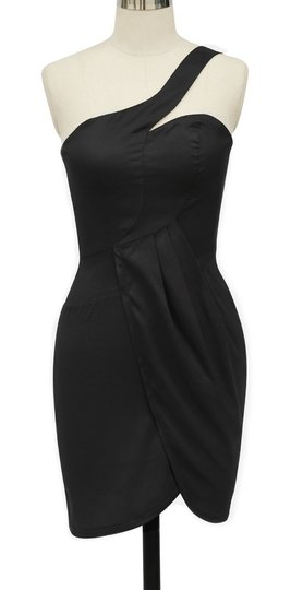 Black Satin Asymmetrical One Shoulder Fashionista /2x Modern Bridesmaid/Mob Dress Size 20 (Plus 1x)