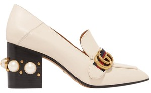 Gucci Gg Pearl Embellished Loafer White Mules