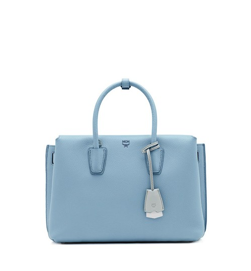 MCM Leather Tote in Sky Blue