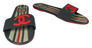 Chanel Flip Cc Leather Gray Red Sandals