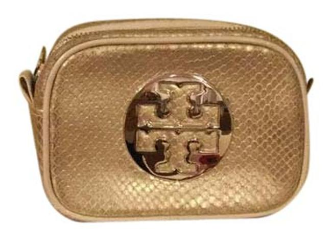 Item - Gold Like New Leather Snakeskin Embossed Cosmetic Bag