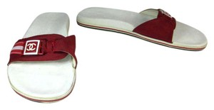Chanel Flip Cc Leather Red White Sandals