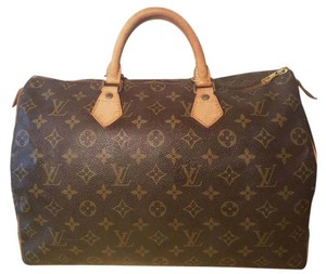 Louis Vuitton Canvas Leather Speedy Satchel in Monogram