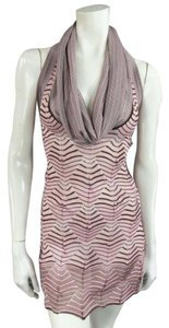 Missoni Textured Mesh Cowl-neck Open Back Knit Pink Halter Top