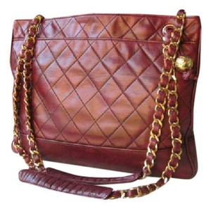 Chanel Vintage Rare Tote in burgundy and gold