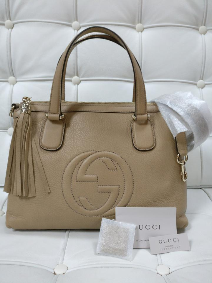 ca2f93c3b9c Gucci Soho New Medium Top Handle Crossbody Beige Leather Satchel - Tradesy