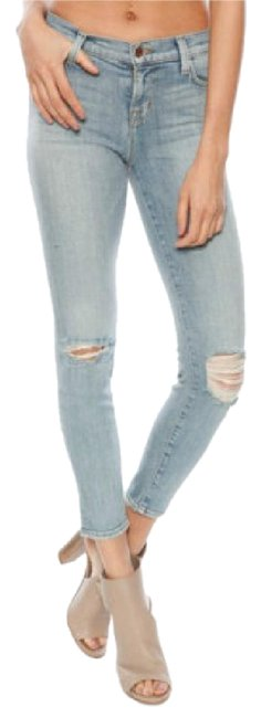 Item - Blue Distressed Mid-rise In Dropout Capri/Cropped Jeans Size 27 (4, S)