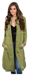 Other Cargo Military Button Up Shirtdress Long Sleeves Olive Jacket