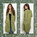 Other Cargo Military Button Up Shirtdress Long Sleeves Olive Jacket Image 1