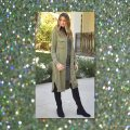 Other Cargo Military Button Up Shirtdress Long Sleeves Olive Jacket Image 2
