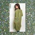 Other Cargo Military Button Up Shirtdress Long Sleeves Olive Jacket Image 3